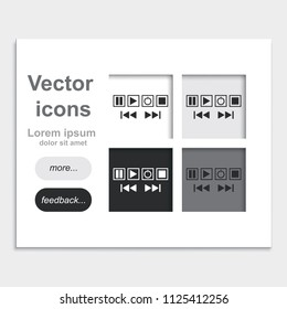 Media buttons flat placed on web page template vector icons.