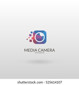 Media Camera. Polygonal camera logo