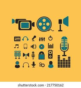 media, cinema, movie icons, signs, illustrations, vectors, symbols set