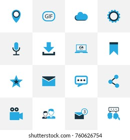 Media Colorful Icons Set With Location, Share, Cogwheel And Other Social Web Elements. Isolated Vector Illustration Media Icons.