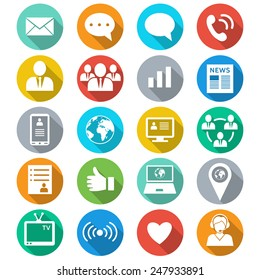 Media and communication flat color icons. Web icons set 1. Vector