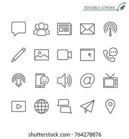 Media and communication line icons. Editable stroke. Pixel perfe