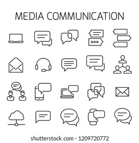 Media communication related vector icon set. Well-crafted sign in thin line style with editable stroke. Vector symbols isolated on a white background. Simple pictograms.