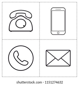 Media communication set icon vector. smart phone, classic phone and mail icon.