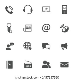 media communication vector icons set isolated on white background. internet communication concept. communication flat icons for web and ui design