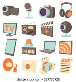 Media communications icons set. Cartoon illustration of 16 media communications vector icons for web
