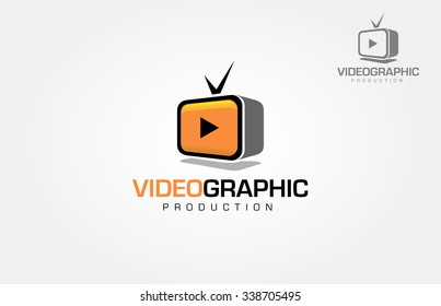 Media company logo or film production studio or audio-visual studio or on-line media.