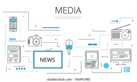 Media Concept News Icons and lines. Vector illustration TV, newspaper, radio, mobile, phone, camera
