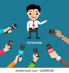 Media conducting a press interview with a businessman answering questions or giving a presentation to a row of hands holding microphones  vector illustration