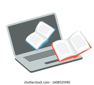 Media content for receiving online education. Application cartoon icon. Opened laptop and paper books. E-learning. Ebooks storing and searching. Digital learning via internet. Vector flat illustration