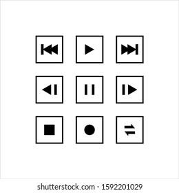 Media Control Icon, Media Controls Button Vector Art Illustration