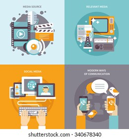 Media design concept set with communication sources flat icons isolated vector illustration