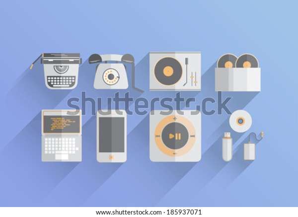 Media devices over the years vector on blue background