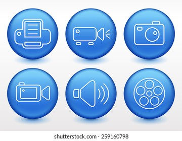 Media and Digital Technology on Blue Round Buttons