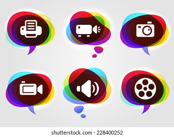 Media and Digital Technology on Multi Color Speech Bubbles