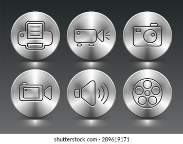 Media and Digital Technology on Silver Round Buttons