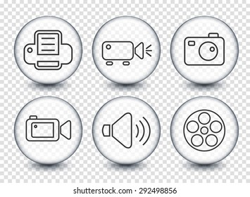 Media and Digital Technology on Transparent Round Buttons