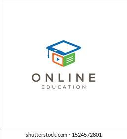Media Education Logo . Digital school book online education logo and graduation hat. E-book or e-reader soft icon. On-line education