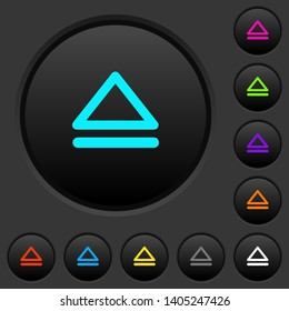 Media eject dark push buttons with vivid color icons on dark grey background