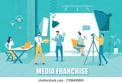 Media Franchise Commercial Project Development with People Characters Broadcasting for Social Communication. Internet Marketing, Promotion and Advertising Technology. Flat Vector Illustration.