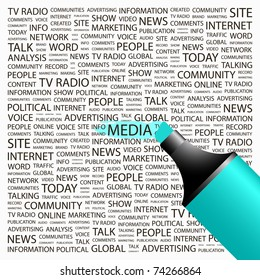 MEDIA. Highlighter over background with different association terms. Vector illustration.