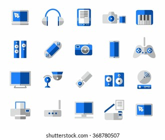 Media, icon, colorful, blue. Vector colored icons media and electronics.