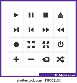 Media icon set. Vector pictograms for web, computer and mobile apps: play, pause, stop, eject, end, first, ffw, frw, record, full screen, cut down, switch off, add, remove, repeat and shuffle symbol