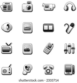 Media icons- black and white