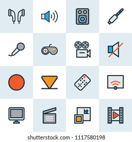 Media icons colored line set with cinema, camera, display and other mute elements. Isolated vector illustration media icons.