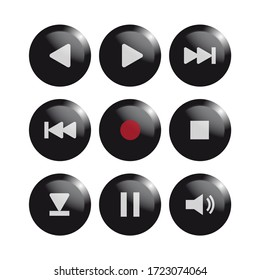Media Icons. Musical Buttons. Real buttons.