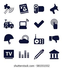Media icons set. Set of 16 Media filled icons such as radio, satellite, magazine, volume, camera, TV, touchscreen, equalizer, dislike, tick, laptop, sun, TV van, helmet, bank