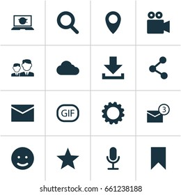 Media Icons Set. Collection Of Letter, Inbox, Gif Sticker And Other Elements. Also Includes Symbols Such As Notification, Camcorder, Smile.