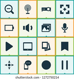 Media icons set with controller, tablet, bookmark and other target elements. Isolated vector illustration media icons.