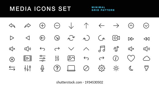 media icons set editable stroke vector file. video player, music, gallery, settings, sound ui symbols