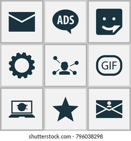 Media icons set with gif sticker, laptop, chat and other relation elements. Isolated vector illustration media icons.