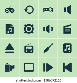 Media icons set with multimedia, eject, replay and other presentation elements. Isolated vector illustration media icons.