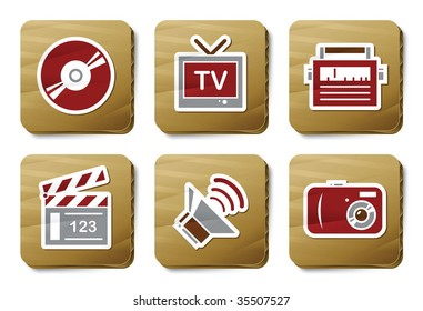 Media icons. Vector icon set. Three color icons on cardboard tags.