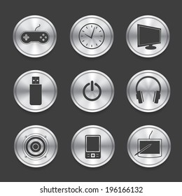 Media icons,Silver vector