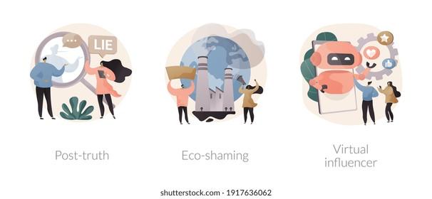 Media influence abstract concept vector illustration set. Post-truth, eco-shaming, virtual influencer, fake news, propaganda, internet abuse, ecological activist, social media abstract metaphor.