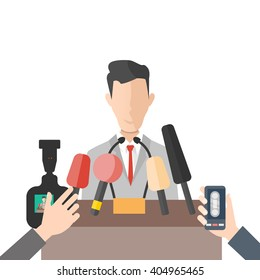 media interview press conference with businessman in front of hands holding microphones. vector concept illustration