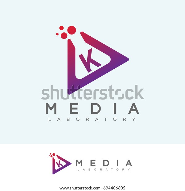 Media Laboratory Initial Letter K Logo Stock Vektorgrafik