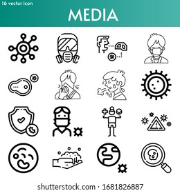 media line icon set on theme coronovirus. Included icons as cell, gas, eating, man, cold, protection, medication, virus warning, washing, earth, research and more - Shutterstock ID 1681826887