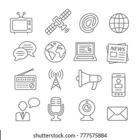 Media line icons on white