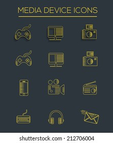 Media line icons,clean vector
