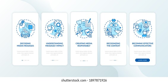 Media literacy elements onboarding mobile app page screen with concepts. Understanding context, responsibility walkthrough 5 steps graphic instructions. UI vector template with RGB color illustrations