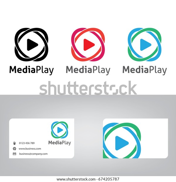 media logo. Vector play icon. Video application icon design template. Music player. Line art.