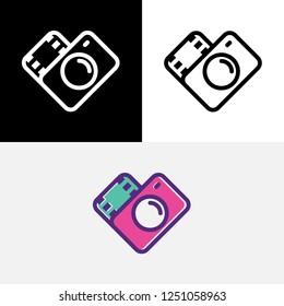Media Love Camera Film Strip Heart Lens Photography Icon Logo