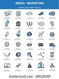 Media & Marketing concept icons,Blue version,vector