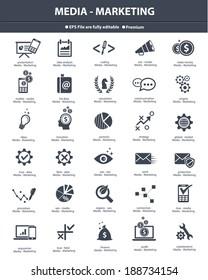 Media & Marketing icons,black version,vector