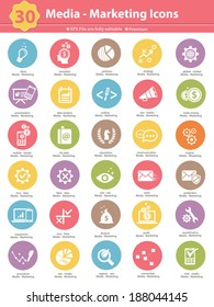 Media & Marketing icons,colorful version on white background,vector